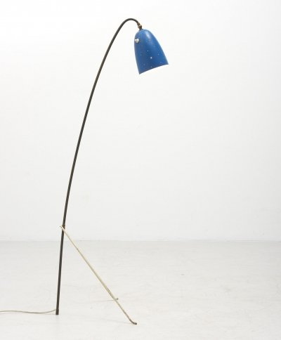 Tripod Floor Lamp with Blue Lamp Shade, 1950's