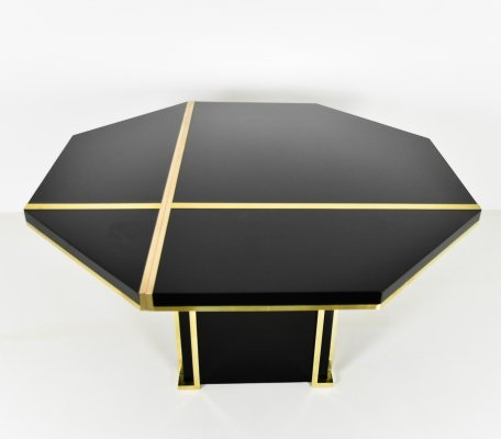 Dining table in black & brass by Jean Claude Mahey, 1970s