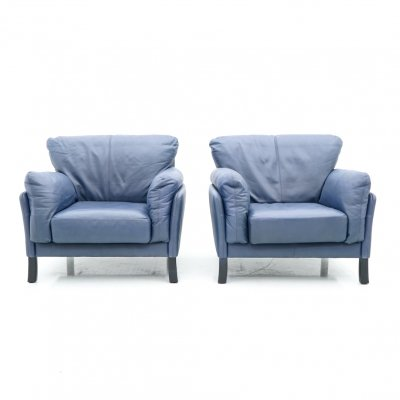 Pair of Blue Lather Lounge Chairs by Dreipunkt International