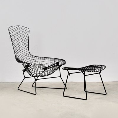 Bird Lounge Chair with ottoman by Harry Bertoia for Knoll, 1960