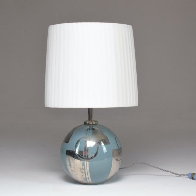 1930's French Silver Ceramic Hand-Painted Table Lamp