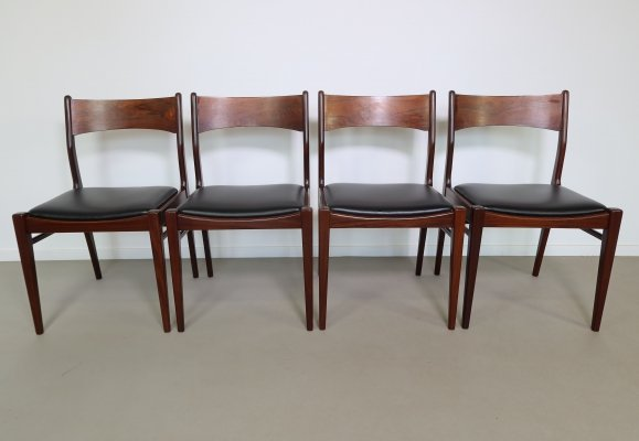 Set of 4 Rosewood dining chairs with black skai seats, 1960s