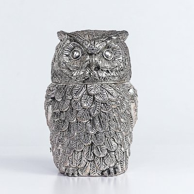 Silver plated owl ice bucket by Mauro Manetti Firenze