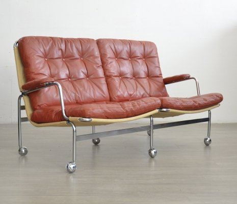 Karin Sofa in Red Leather by Bruno Mathsson for Dux