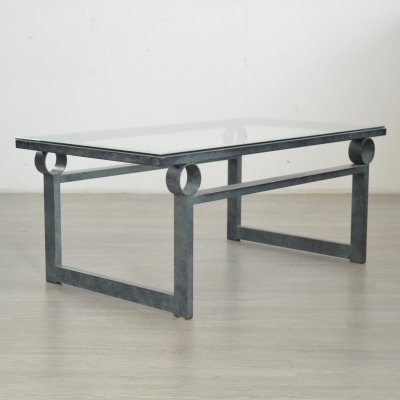 Sculptural Metal & Glass Coffee Table, 1980s
