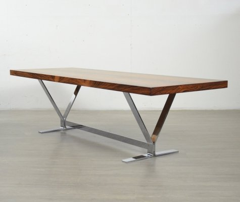 Rosewood & Chrome Coffee Table by George Thams