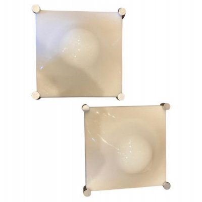 1970s Space Age set of Two Elio Martinelli Acrylic & Steel Bolla Wall Sconces