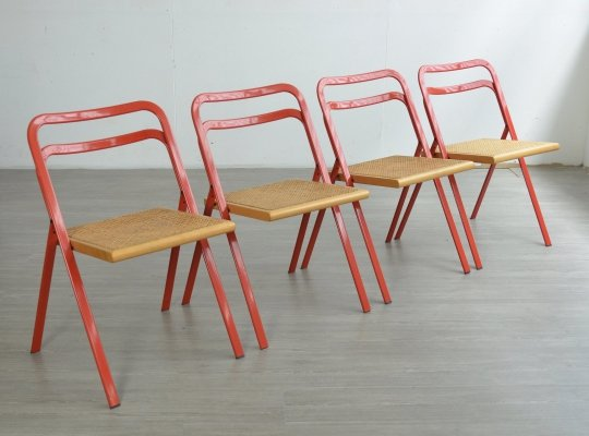 Set of 4 Italian Folding Dining Chairs by Giorgio Cattelan for Cidue