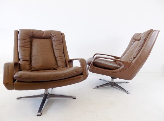 Carl Straub set of 2 brown leather armchairs, 1960s