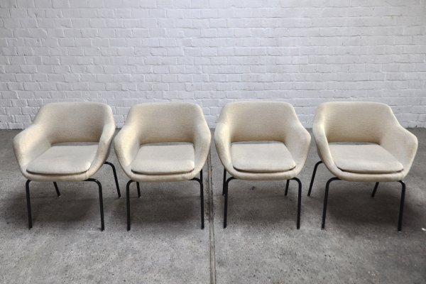 Italian Dining or Side Chairs In White Wool Fabric From Mim Roma, 1960's