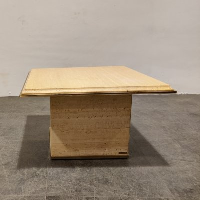 Vintage travertine & brass coffee table by Fedam, 1970s