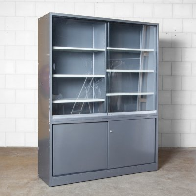 Anthracite grey Metal Office Cabinet, 1980s