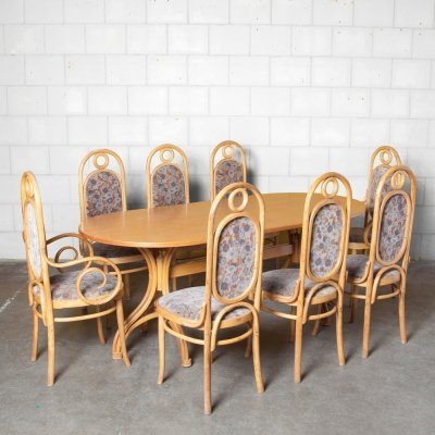Thonet Dining set with Table & 8 Long John chairs, 1960s