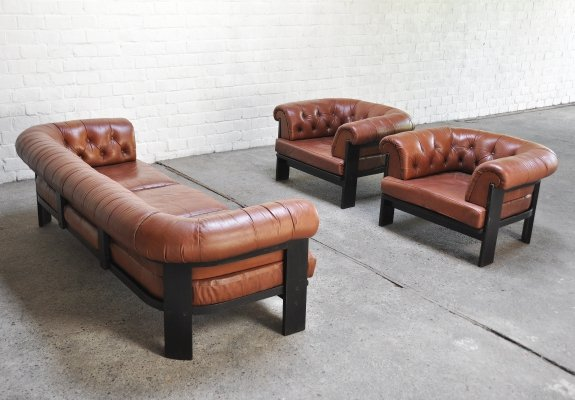 Leather Sofa And Armchairs set by Tobia Scarpa for Gavina, 1960s