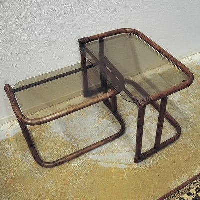 Dark bamboo nesting table set with smoked glass top