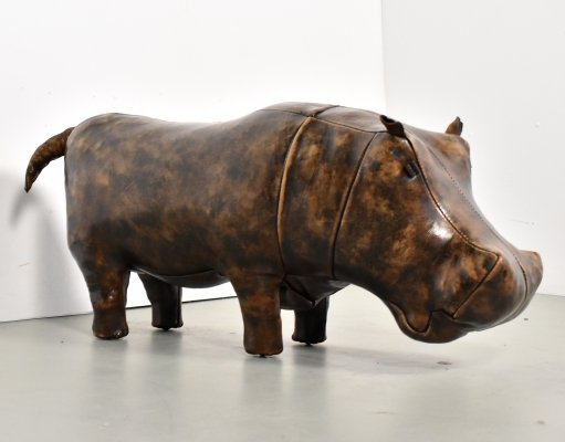Leather hippo footstool by Dimitri Omersa for Abercrombie & Fitch, 1970s