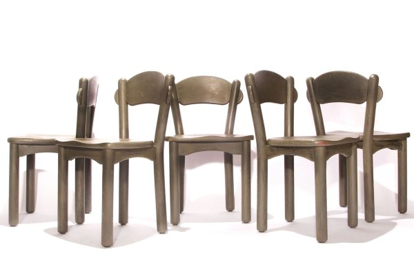 Set of Five Green Painted Rainer Daumiller Wooden Dining Chairs, 70s