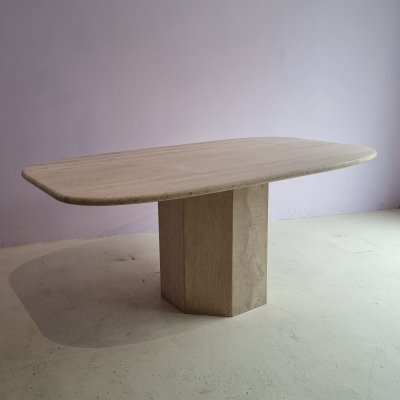 Oval travertine dining table, 1970s