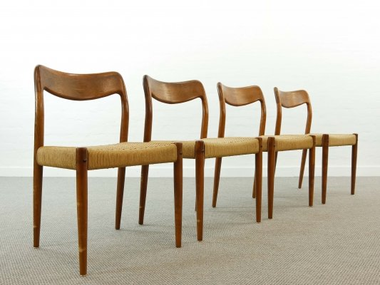Set of 4 teak chairs with papercord seat by Johannes Andersen for Uldum, Denmark 1960s