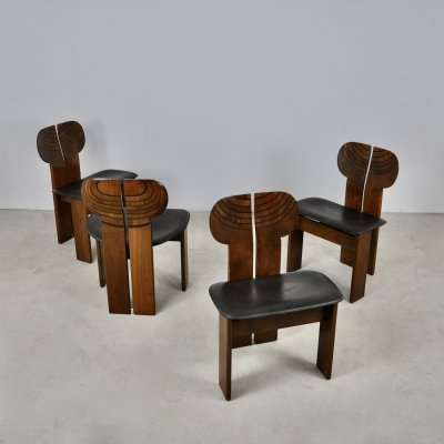 Set of 4 Afra & Tobia Scarpa 'Africa' Dining Chairs for Maxalto, 1975