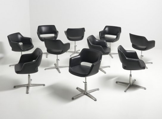 Swivel Conference Chairs in Black Leather, 1960's