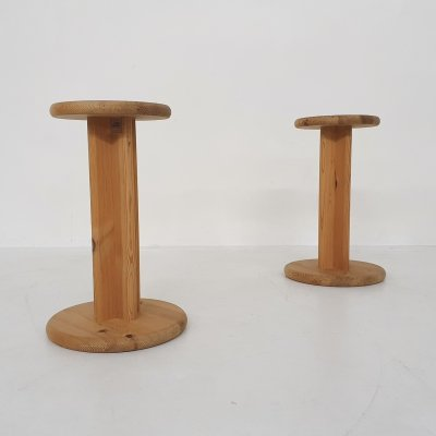 Set of two Aksel Kjersgaard pinewood stools or plant stands, Denmark 1970's