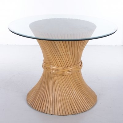 Retro Vintage Sheaf of Wheat Bamboo Dining Table by McGuire