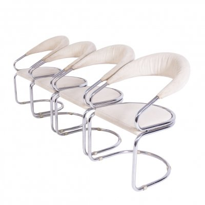 Set of Four Giotto Stoppino Chairs in Beige Cotton & Steel