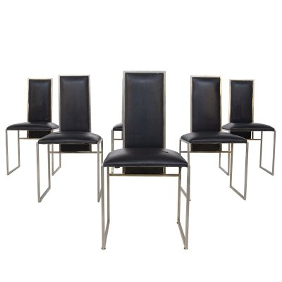 Set of 6 Romeo Rega Dining Chairs in Black Leather & Steel