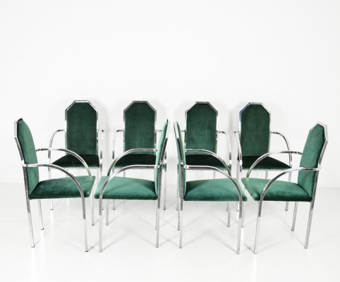 Set of 8 dining chairs by Belgo Chrom, 1980s