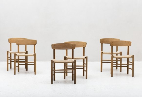 Set of 6 'J39' dining chairs by Borge Mogensen, 1940s