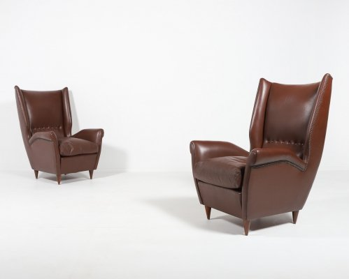 Pair of Italian Wingback Lounge armchairs Model 512 by Gio Ponti, 1950's