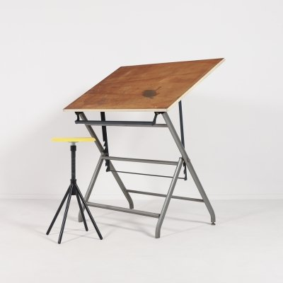 Italian drafting/drawing table with stool, 1960s