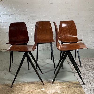 Set of 5 Vintage Dutch Dining Chairs From Galvanitas, 1960s