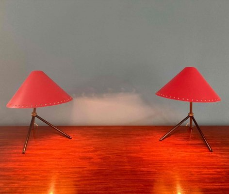 Pair of Pinocchio desk lamps or wall lamps by H. Busquet for Hala Zeist, 1950s