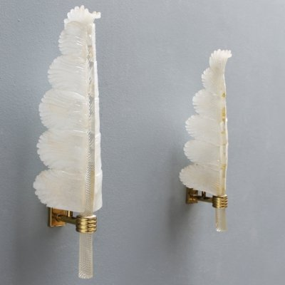Pair of original Murano palm leaf shaped sconces by Barovier & Toso, Italy