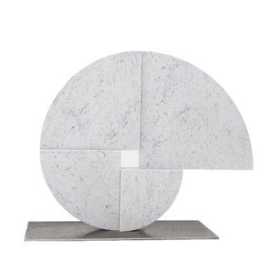 White Carrara Marble sculpture by Angelo Mangiarotti for Skipper, 1980s