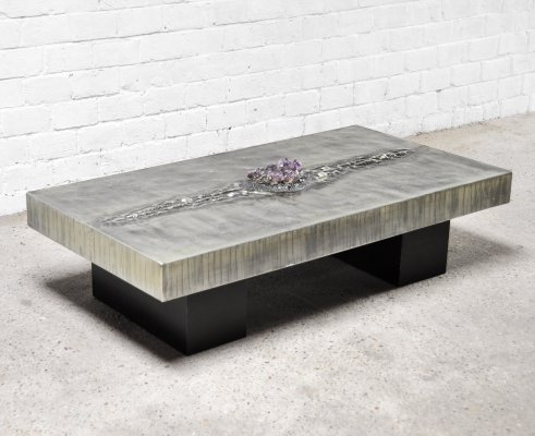 Aluminum Etched Coffee Table With Amethyst Centrepiece by Marc D'haenens, 1970's