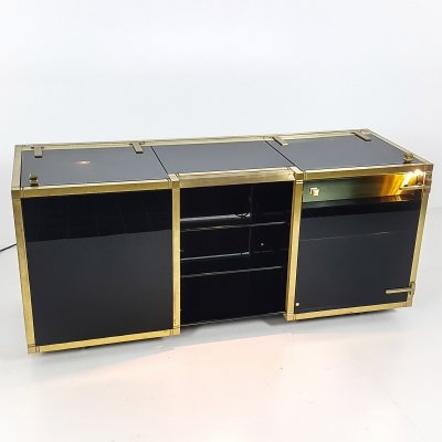 Willy Rizzo Smoked Glass & Brass Mobile Bar Drinks Trolley