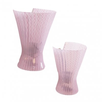 Pair of Wall Lamps by Venini in Pink Zanfirico Glass & Brass