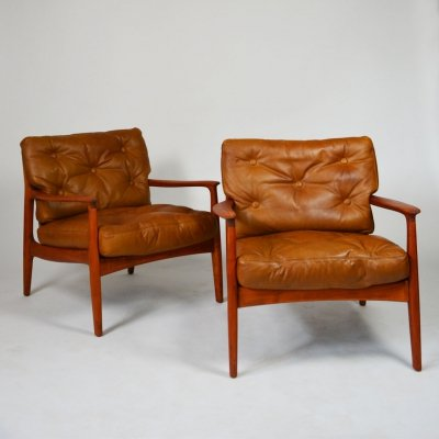 Leather lounge chairs by Eugen Schmidt for Soloform