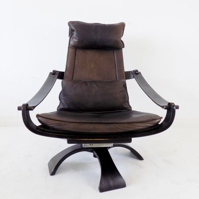 Nelo leather lounge chair by Ake Fribytter, 1970s