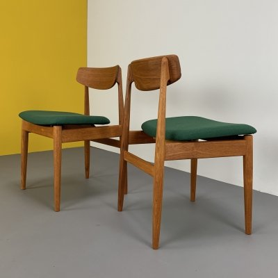 Pair of Casala dining chairs in Teak with forest-green upholstery, Germany 1960s