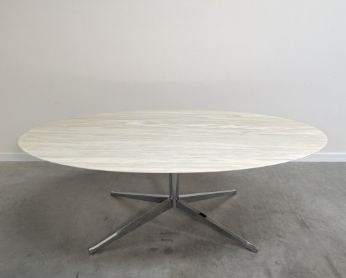 Large oval marble dining / conference table by Florence Knoll, 1970s