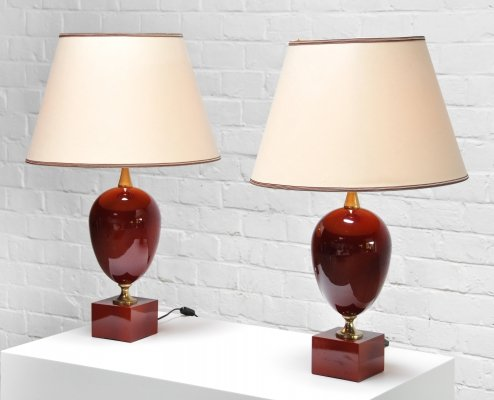 Pair of Red Lacquered Table Lamps by Philippe Barbier, France 1970s