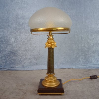 Empire style tablelamp with a black & gilded marble column base, 1930's