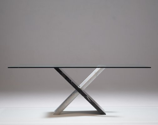 Maurizio Cattelan marble table in Carrara & Nero Marquina marble & Glass