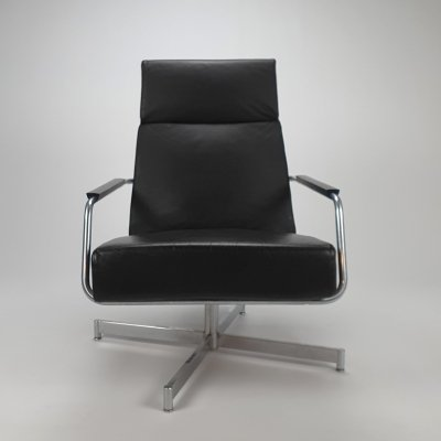 Dutch Design Leather Swivel 'Optie' Lounge Chair by Harvink, 1990s