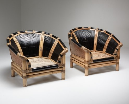 Black & Natural Bamboo & Cane Lounge Chairs, Italy 1970's