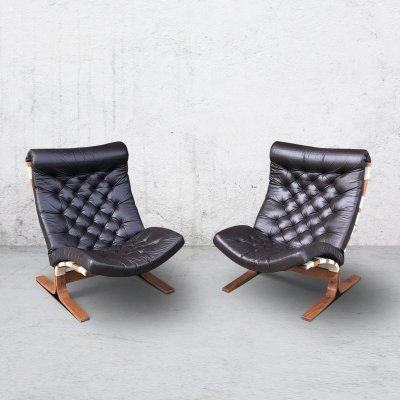 Pair of Lounge Chairs in Tufted Brown Leather, 1970s